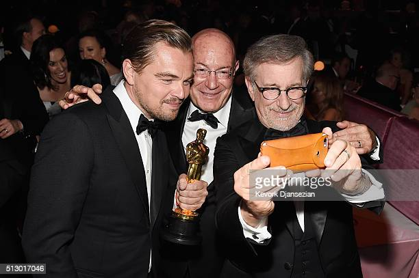 Actor Leonardo DiCaprio winner of Best Actor for 'The Revenant' Producer Arnon Milchan and Director Steven Spielberg attend the 88th Annual Academy...