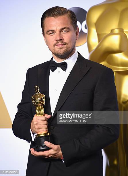 Actor Leonardo DiCaprio, winner of Best Actor for 'The Revenant,' poses in the press room during the 88th Annual Academy Awards at Loews Hollywood...