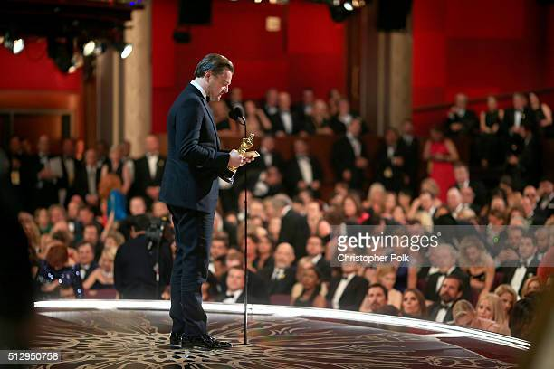 Actor Leonardo DiCaprio winner of Best Actor for 'The Revenant' speaks onstage the 88th Annual Academy Awards at Dolby Theatre on February 28 2016 in...