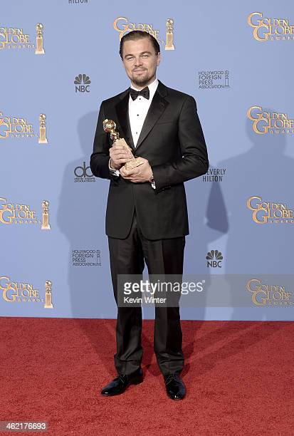 Actor Leonardo DiCaprio winner of Best Actor in a Motion Picture Musical or Comedy for 'The Wolf of Wall Street' poses in the press room during the...