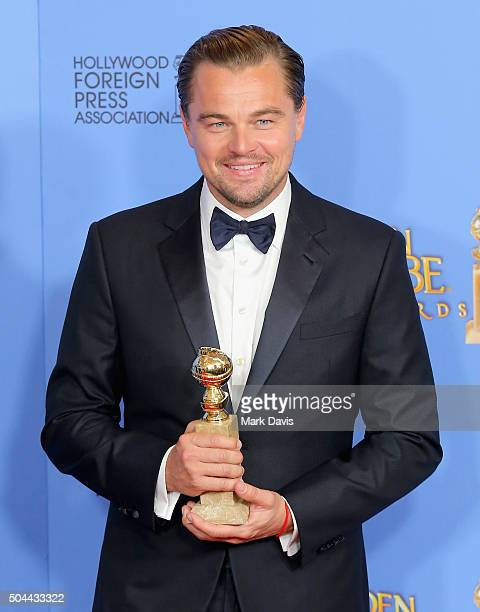 Actor Leonardo DiCaprio winner of Best Performance by an Actor in a Motion Picture Drama for 'The Revenant' poses in the press room during the 73rd...