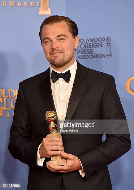 Actor Leonardo DiCaprio winner of Best Performance in a Motion Picture Drama for 'The Revenant' poses in the press room during the 73rd Annual Golden...