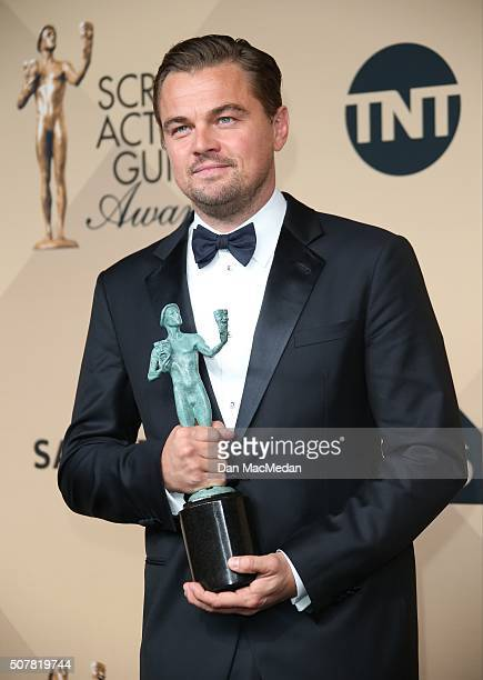 Actor Leonardo DiCaprio winner of Outstanding Performance By a Male Actor in a Leading Role for 'The Revenant' poses in the press room at the 22nd...