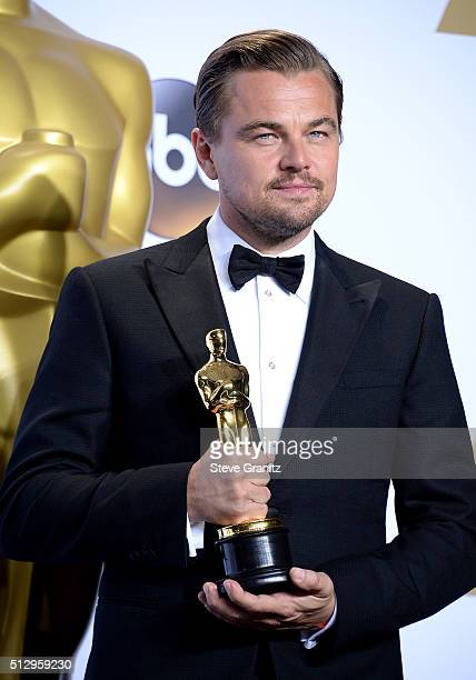 Actor Leonardo DiCaprio, winner of the award for Best Actor in a Leading Role for 'The Revenant,' poses in the press room during the 88th Annual...