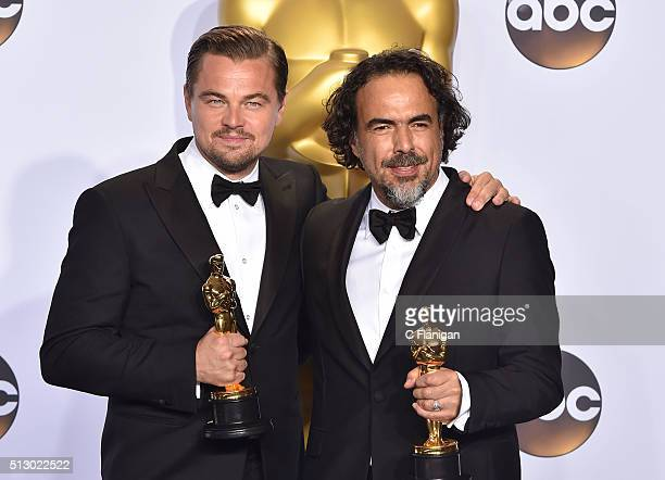 Actor Leonardo DiCaprio winner of the award for Best Actor in a Leading Role for 'The Revenant' and director Alejandro Gonzalez Inarritu winner of...