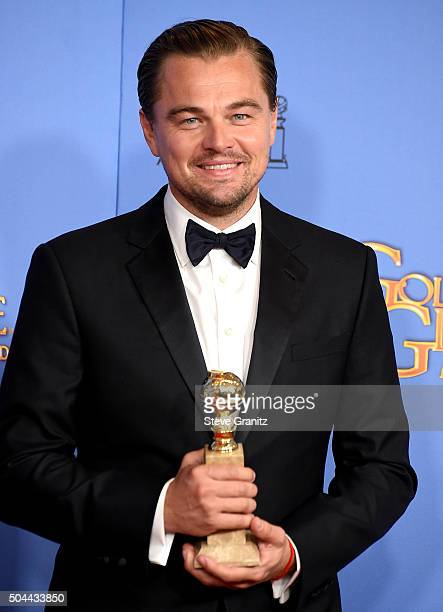 Actor Leonardo DiCaprio winner of the award for Best Performance by an Actor in a Motion Picture Drama for 'The Revenant' poses in the press room...