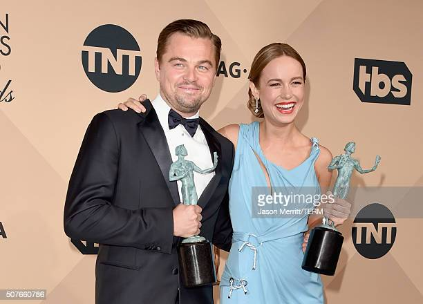 Actor Leonardo DiCaprio winner of the award for Outstanding Performance by a Male Actor in a Leading Role for The Revenant and actress Brie Larson...