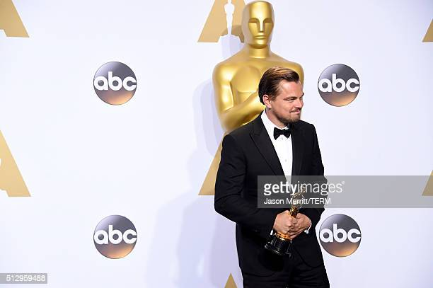 Actor Leonardo DiCaprio winner of the Best Actor award for 'The Revenant' poses in the press room during the 88th Annual Academy Awards at Loews...