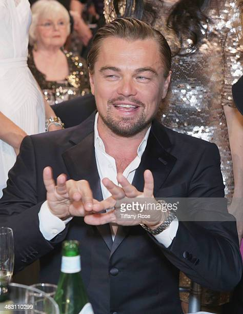 Actor Leonardo DiCaprio with Champagne Nicolas Feuillatte attends the 19th Annual Critics' Choice Movie Awards at Barker Hangar on January 16 2014 in...