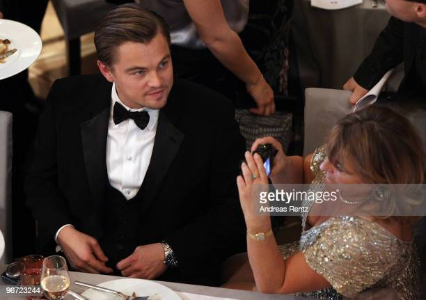 Actor Leonardo DiCaprio with his mother Irmelin attends the Annual Cinema For Peace Gala during day five of the 60th Berlin International Film...
