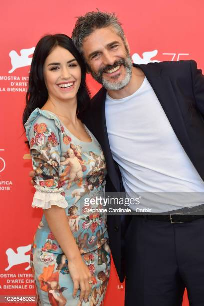 Actor Leonardo Sbaraglia and actress Lali Esposito attend 'Acusada ' photocall during the 75th Venice Film Festival at Sala Casino on September 4...