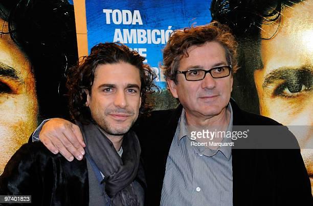 Actor Leonardo Sbaraglia and director Gerardo Herrero pose during a photocall for 'El Corredor Nocturno' at the Cine Floridablanca on March 3 2010 in...