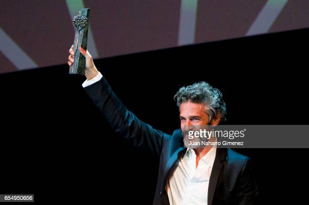 Actor Leonardo Sbaraglia receives the 'Malaga Sur' award 2017 during the 20th Malaga Film Festival 2017 on March 18 2017 in Malaga Spain