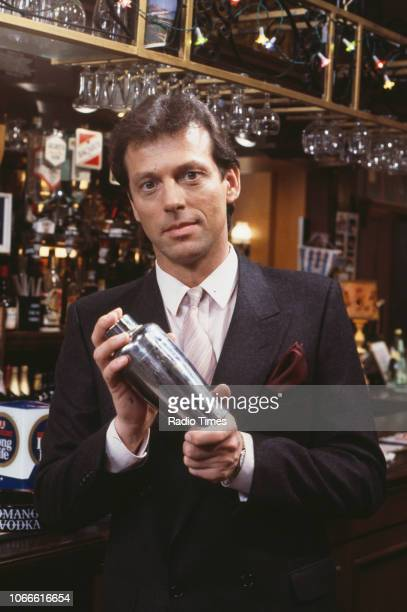 Actor Leslie Grantham pictured on the Queen Victoria pub set of the BBC soap opera 'EastEnders' January 10th 1985
