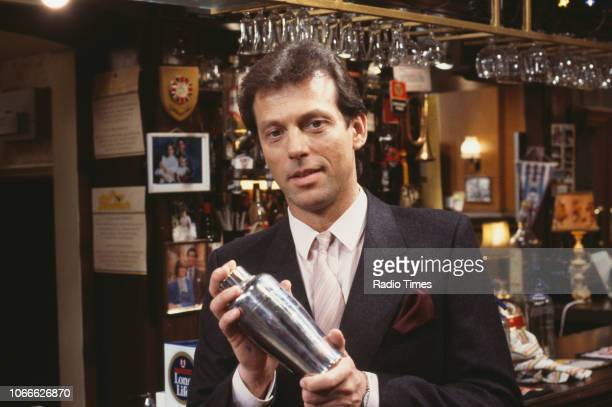 Actor Leslie Grantham pictured on the Queen Victoria pub set of the BBC soap opera 'EastEnders', December 18th 1985.