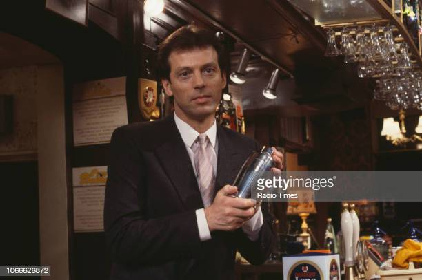Actor Leslie Grantham pictured on the Queen Victoria pub set of the BBC soap opera 'EastEnders' December 18th 1985