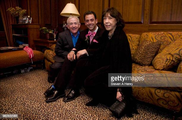 Actor Leslie Jordan producer Bruce Robert Harris and actress Lilly Tomlin attend the after party for the opening night of My Trip Down The Pink...