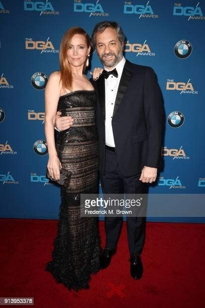 Actor Leslie Mann and host Judd Apatow attend the 70th Annual Directors Guild Of America Awards at The Beverly Hilton Hotel on February 3 2018 in...