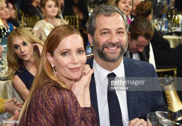 Actor Leslie Mann and producer Judd Apatow attend The 23rd Annual Critics' Choice Awards at Barker Hangar on January 11 2018 in Santa Monica...