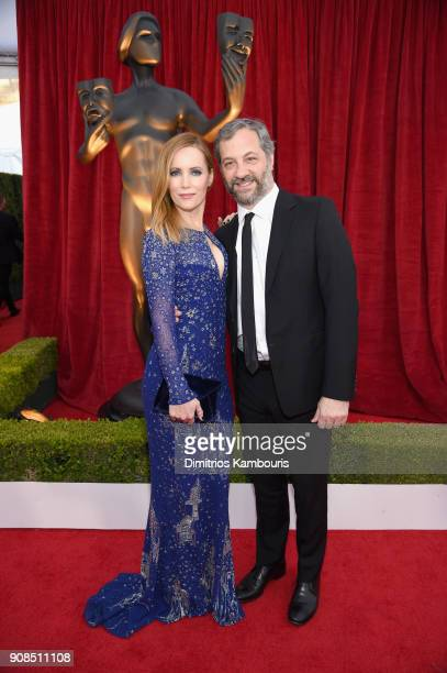 Actor Leslie Mann and producer Judd Apatow attend the 24th Annual Screen Actors Guild Awards at The Shrine Auditorium on January 21 2018 in Los...