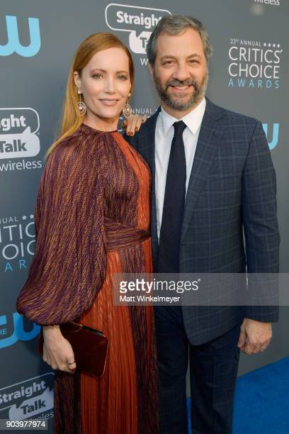 Actor Leslie Mann and writer/director Judd Apatow attend The 23rd Annual Critics' Choice Awards at Barker Hangar on January 11 2018 in Santa Monica...