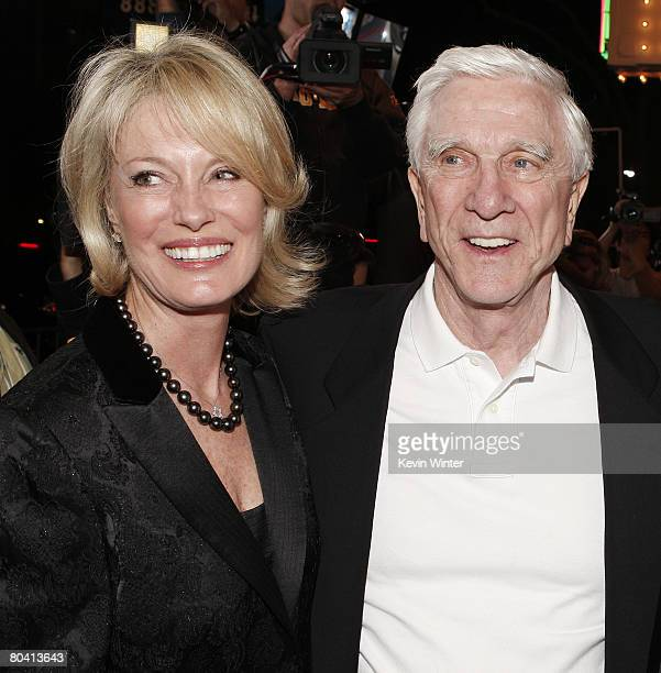 Actor Leslie Nielsen and his wife Barbaree arrive at the premiere of Dimension Film's Superhero Movie at the Mann Festival Westwood on March 27 2008...