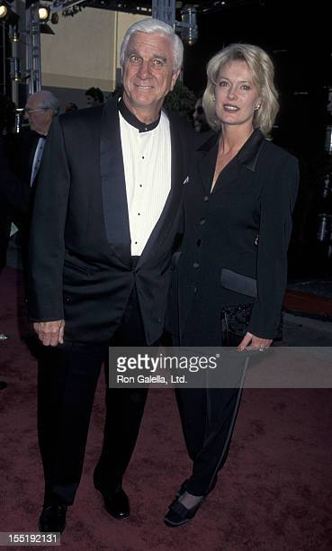 Actor Leslie Nielsen and wife Barbaree Earl attend 22nd Annual People's Choice Awards on March 10 1996 at Universal Studios in Universal City...