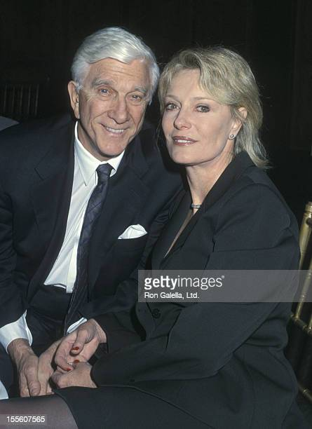 Actor Leslie Nielsen and wife Barbaree Earl attend A Celebration of Hearing Health Benefit Gala on January 24 2002 at Chelsea Piers Lighthouse in New...