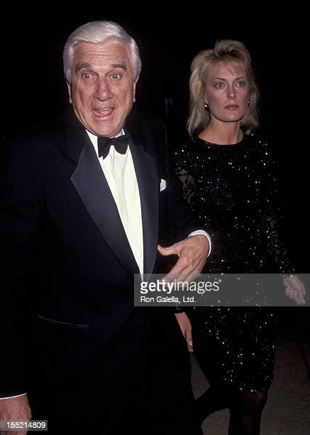 Actor Leslie Nielsen and wife Barbaree Earl attend Fire and Ice Ball Benefit on December 4 1991 at the Beverly Hilton Hotel in Beverly Hills...