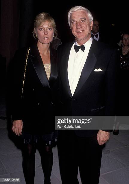 Actor Leslie Nielsen and wife Barbaree Earl attend Mission Hills Celebrity Sports Invitational Dinner Gala on November 30 1991 at Rancho Park in Los...
