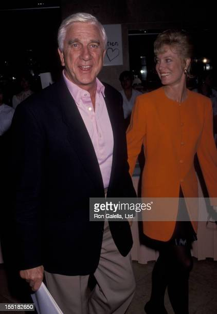 Actor Leslie Nielsen and wife Barbaree Earl attend Sterling Awards on November 2 1991 at the Beverly Hilton Hotel in Beverly Hills California