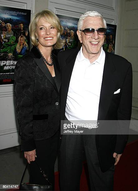 Actor Leslie Nielsen and wife Barbaree Earl Nielsen arrive at the Premiere of Dimension Film's Superhero Movie on March 27 2008 at the Mann Festival...