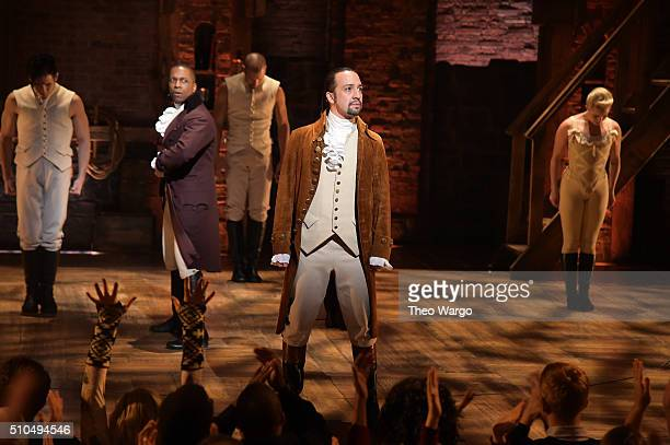 Actor Leslie Odom Jr and actor composer LinManuel Miranda and cast of Hamilton perform on stage during Hamilton GRAMMY performance for The 58th...