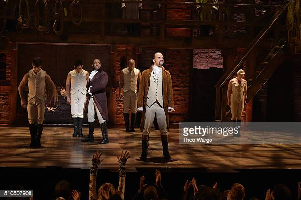 Actor Leslie Odom Jr and actor composer LinManuel Miranda perform on stage during Hamilton GRAMMY performance for The 58th GRAMMY Awards at Richard...