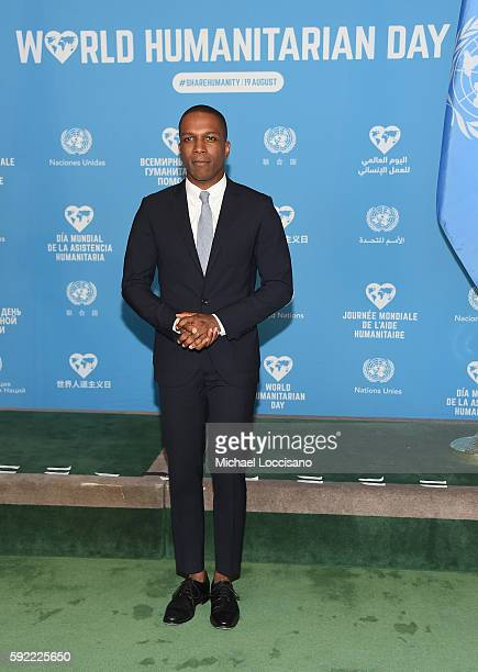 Actor Leslie Odom Jr attends 2016 World Humanitarian Day One Humanity Event at the United Nations on August 19 2016 in New York City