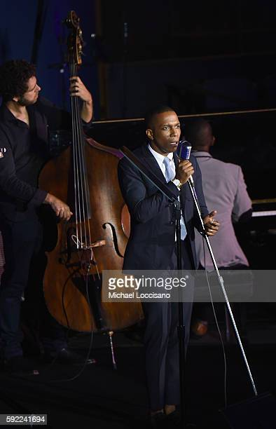 Actor Leslie Odom Jr performs during the 2016 World Humanitarian Day One Humanity Event at the United Nations on August 19 2016 in New York City