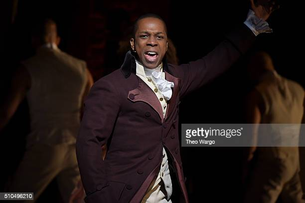 """Actor Leslie Odom, Jr. Performs on stage during """"Hamilton"""" GRAMMY performance for The 58th GRAMMY Awards at Richard Rodgers Theater on February 15,..."""