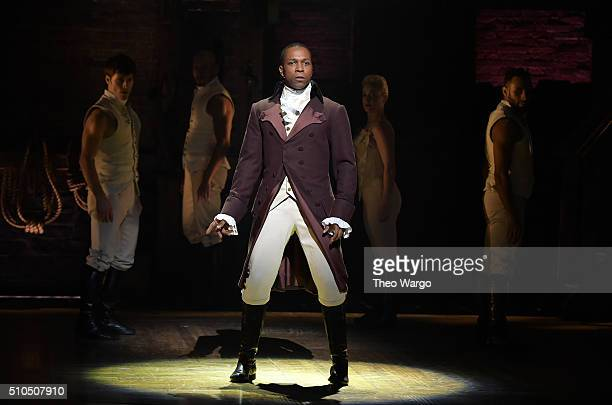 Actor Leslie Odom Jr performs on stage during Hamilton GRAMMY performance for The 58th GRAMMY Awards at Richard Rodgers Theater on February 15 2016...