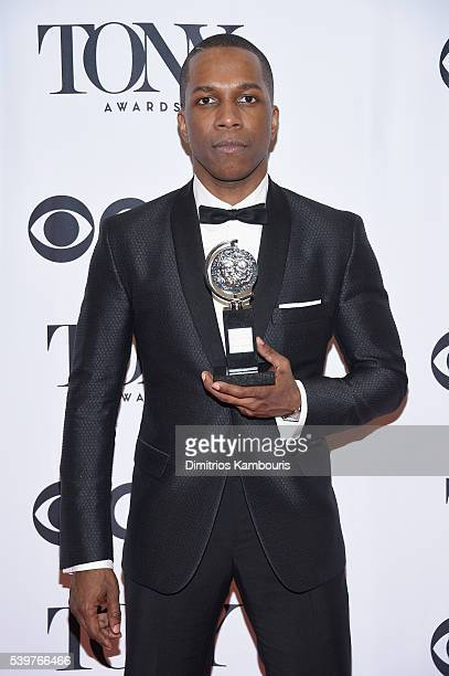 Actor Leslie Odom Jr poses with the award for Best Performance by a Leading Actor in a Musical during the 70th Annual Tony Awards at The Beacon...