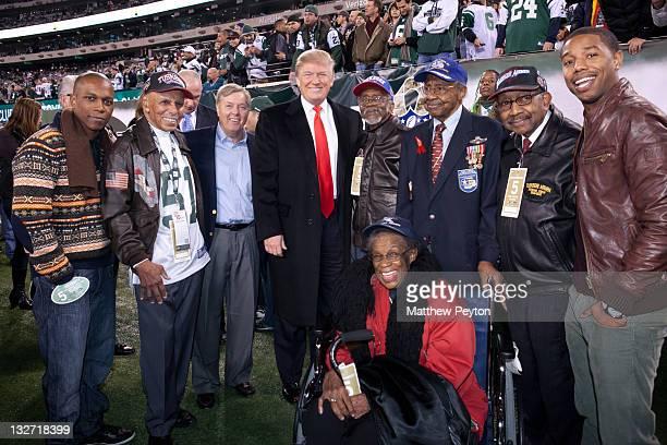 Actor Leslie Odom Jr, Tuskegee Airman Dr. Roscoe Brown, senator Lindsey Graham, Donald Trump, Tuskegee Airmen; Wilfred Difore, Floyd Carter and...