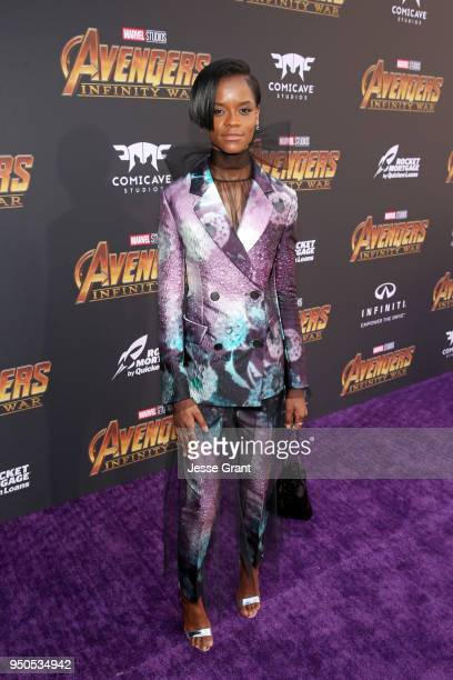 Actor Letitia Wright attends the Los Angeles Global Premiere for Marvel Studios' Avengers Infinity War on April 23 2018 in Hollywood California
