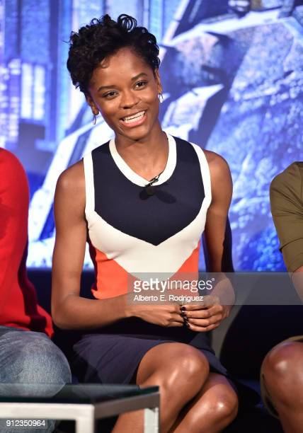Actor Letitia Wright attends the Marvel Studios' BLACK PANTHER Global Junket Press Conference on January 30 2018 at Montage Beverly Hills in Beverly...