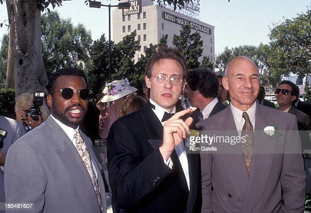 Actor LeVar Burton, actor Brent Spiner and actor Patrick Stewart attend the Wedding of Marina Sirtis and Michael Lamper on June 21, 1992 at St....