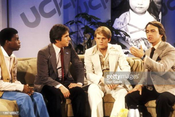 Actor Levar Burton Actor Henry Winkler Actor Ron Howard and Actor John Ritter attend the 1978 United Cerebral Palsy Telethon on February 4 1978 in...
