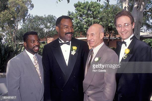 Actor LeVar Burton, actor Michael Dorn, actor Patrick Stewart and actor Brent Spiner attend the Wedding of Marina Sirtis and Michael Lamper on June...