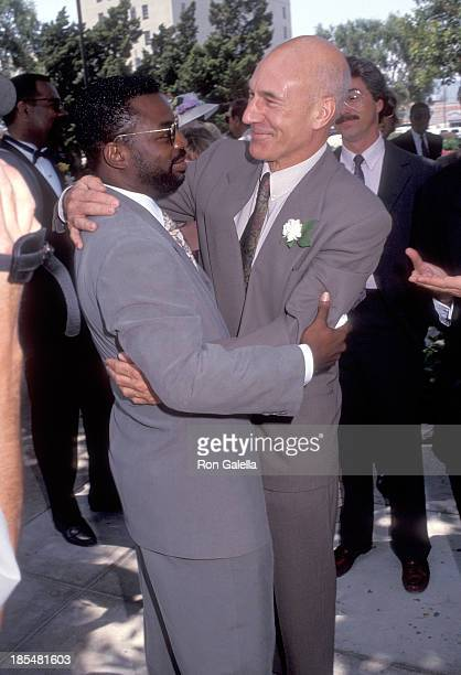 Actor LeVar Burton and actor Patrick Stewart attend the Wedding of Marina Sirtis and Michael Lamper on June 21, 1992 at St. Sophia Cathedral in Los...