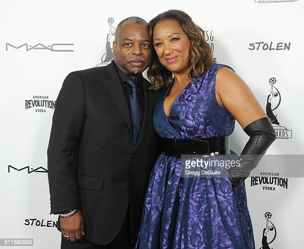 Actor LeVar Burton and wife Stephanie Cozart Burton arrives at the Make-Up Artists And Hair Stylists Guild Awards at Paramount Studios on February...