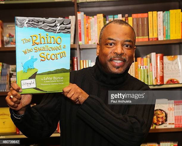 Actor LeVar Burton signs and discusses his new book The Rhino Who Swallowed A Storm at Barnes Noble Booksellers on December 20 2014 in Burbank...