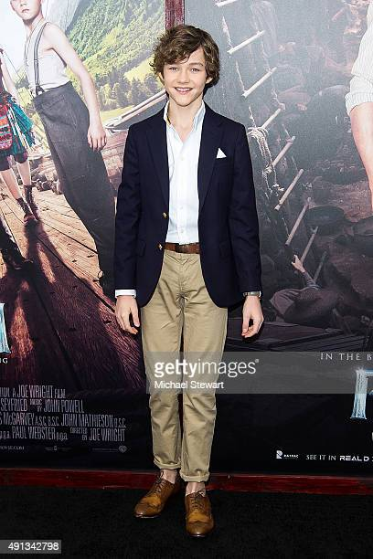 Actor Levi Miller attends the 'Pan' New York Premiere at Ziegfeld Theater on October 4 2015 in New York City