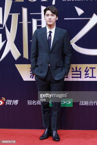 Actor Li Yifeng poses on the red carpet of 2017 Weibo Awards Ceremony at National Aquatics Center on January 18 2018 in Beijing China